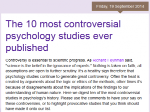 List of the Ten Most Controversial Psychology Studies